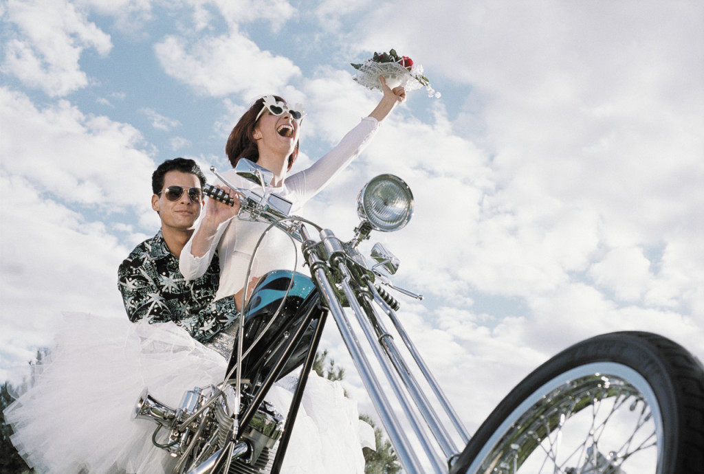 Hip Bride and Groom Riding Motorcycle